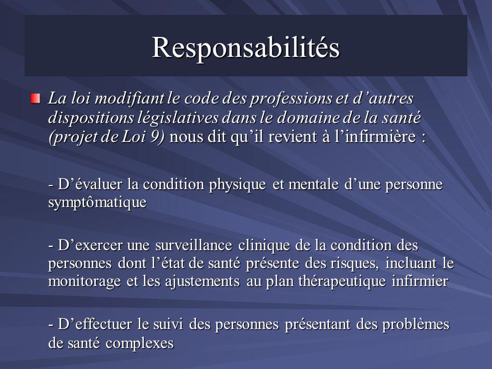 Responsabilités La loi modifiant le code des professions et dautres dispositions législatives dans le domaine de la santé (projet de Loi 9) nous dit q