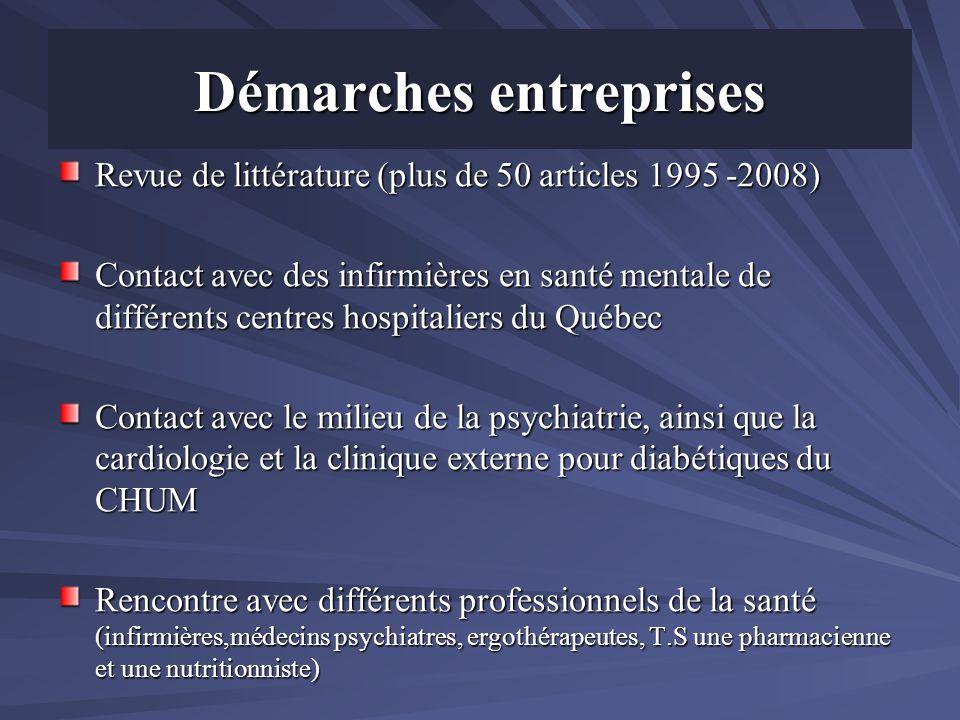 Démarches entreprises Revue de littérature (plus de 50 articles 1995 -2008) Contact avec des infirmières en santé mentale de différents centres hospit