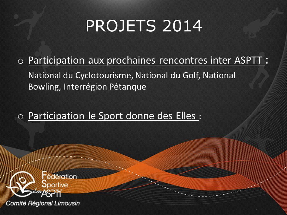 PROJETS 2014 o Participation aux prochaines rencontres inter ASPTT : National du Cyclotourisme, National du Golf, National Bowling, Interrégion Pétanque o Participation le Sport donne des Elles :