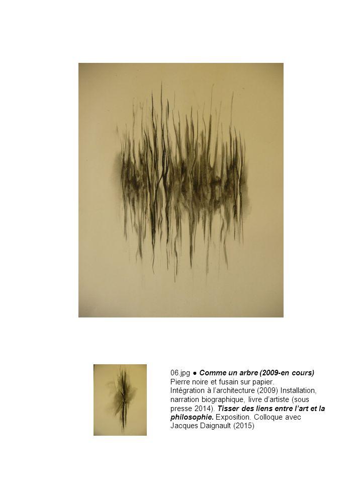 06.jpg Comme un arbre (2009-en cours) Pierre noire et fusain sur papier. Intégration à larchitecture (2009) Installation, narration biographique, livr