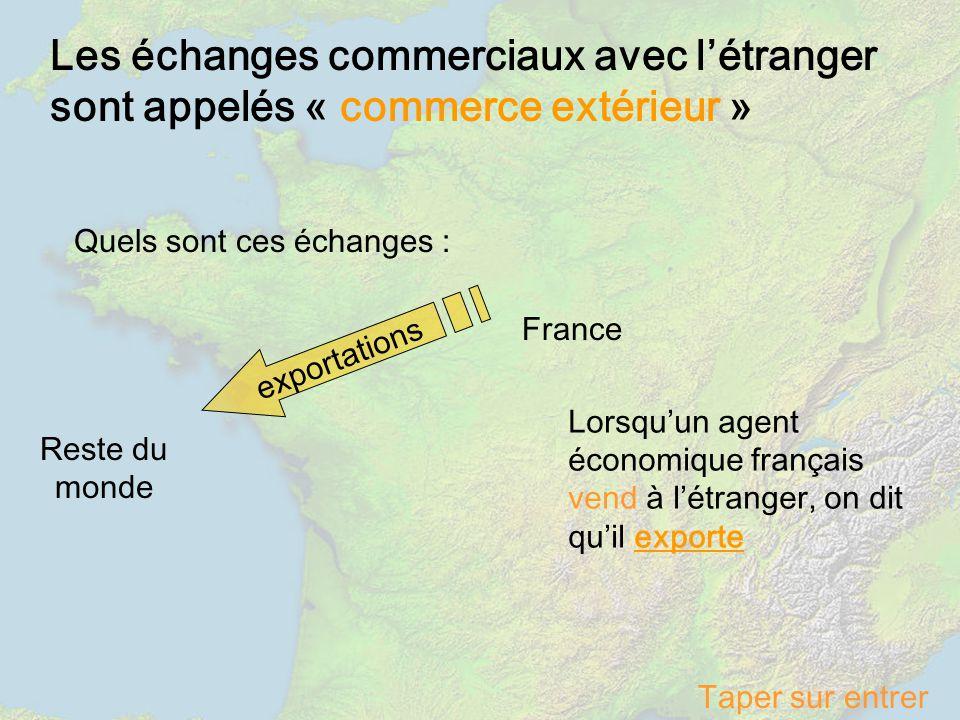 Les échanges commerciaux avec létranger sont appelés « commerce extérieur » Quels sont ces échanges : France Reste du monde exportations Lorsquun agen