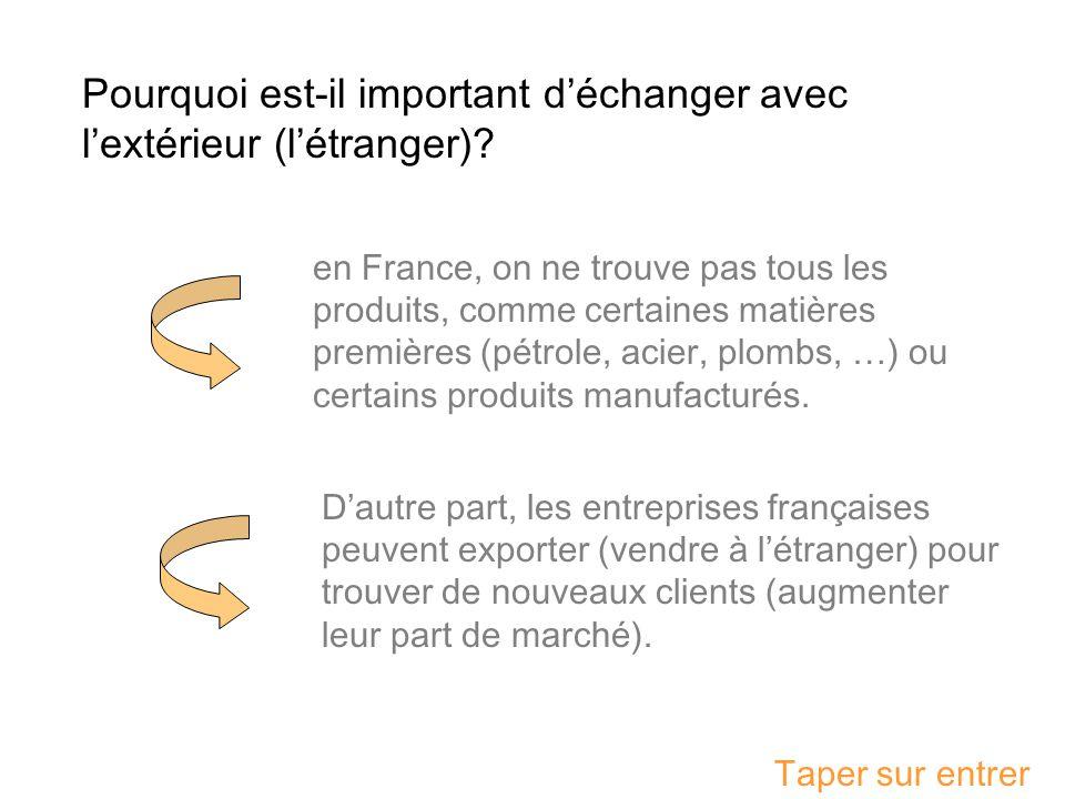 Pourquoi est-il important déchanger avec lextérieur (létranger)? en France, on ne trouve pas tous les produits, comme certaines matières premières (pé