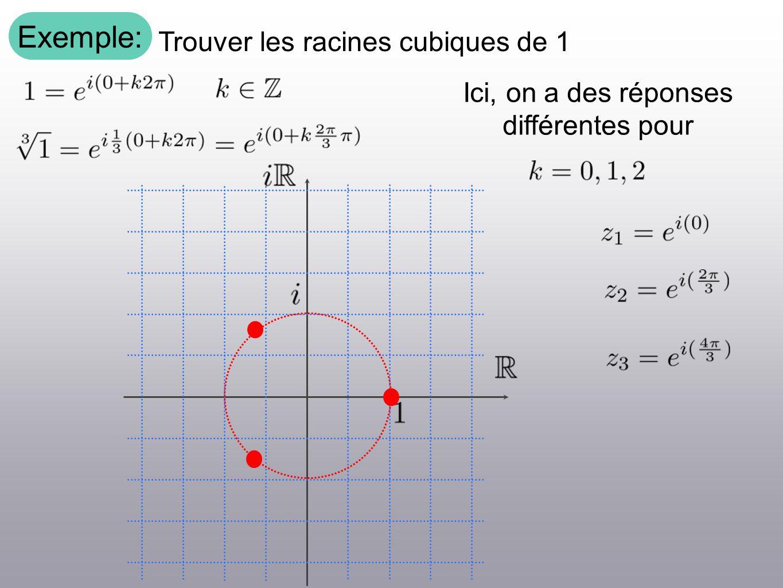 Exemple: Trouver les racines cubiques de 1 Ici, on a des réponses différentes pour