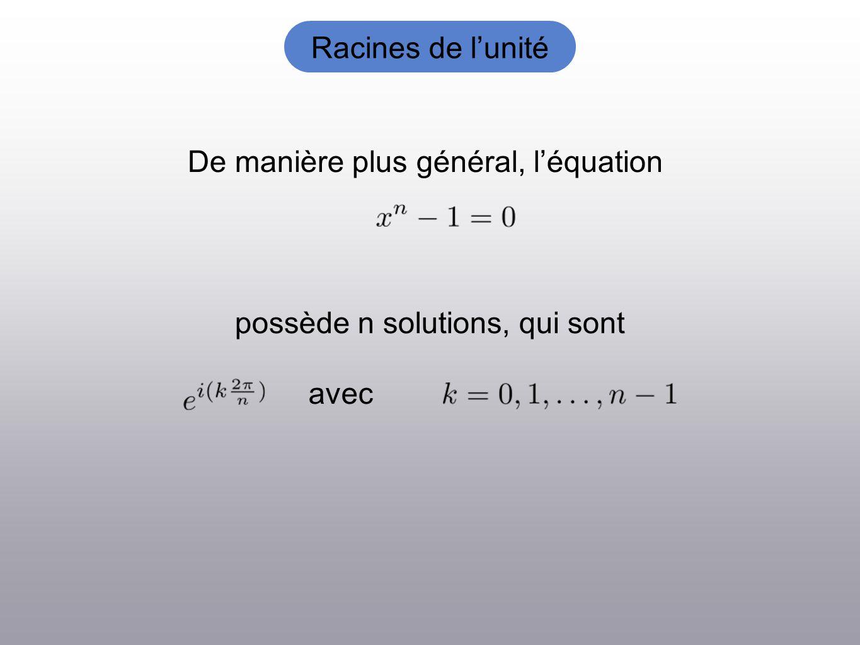 Racines de lunité De manière plus général, léquation possède n solutions, qui sont avec