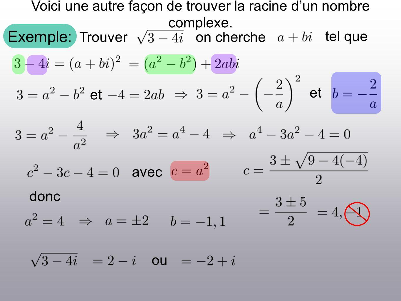 Exemple: Voici une autre façon de trouver la racine dun nombre complexe. Trouveron cherche tel que et avec ou donc