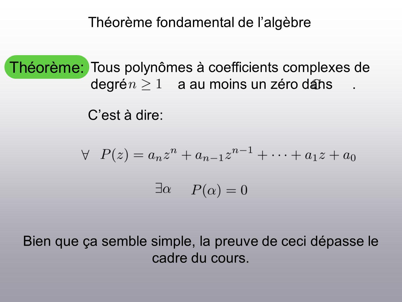 Théorème: Théorème fondamental de lalgèbre Tous polynômes à coefficients complexes de degré a au moins un zéro dans.