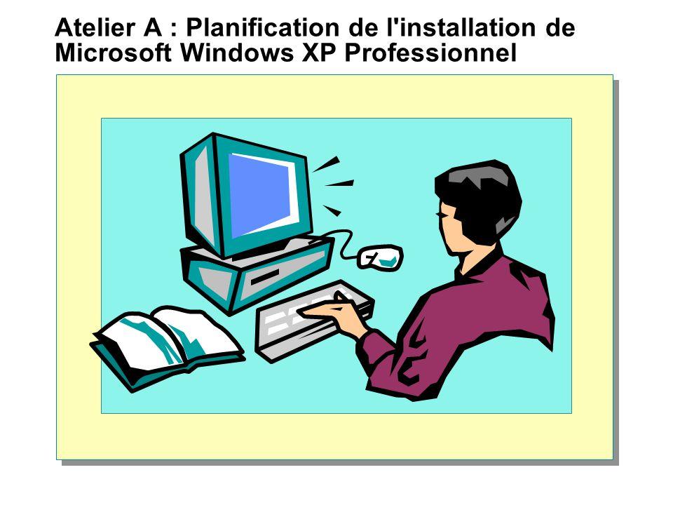 Atelier A : Planification de l'installation de Microsoft Windows XP Professionnel