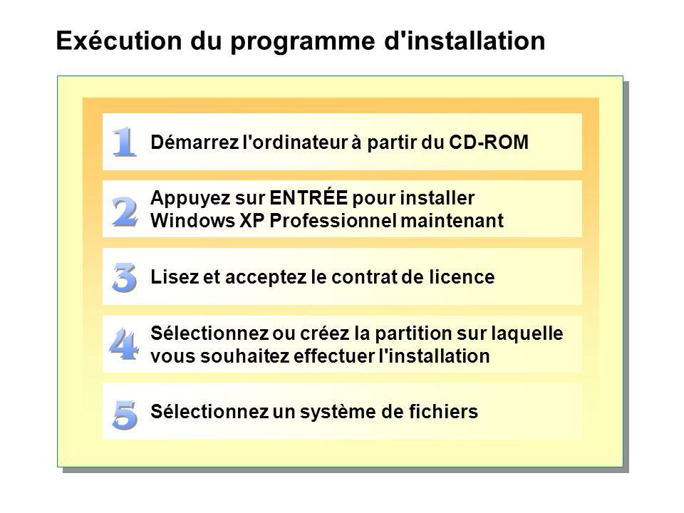 Exécution du programme d'installation Démarrez l'ordinateur à partir du CD-ROM Appuyez sur ENTRÉE pour installer Windows XP Professionnel maintenant L