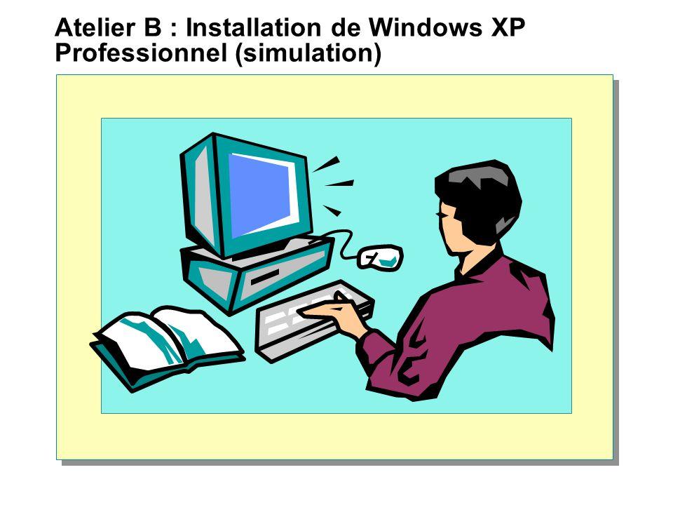 Atelier B : Installation de Windows XP Professionnel (simulation)