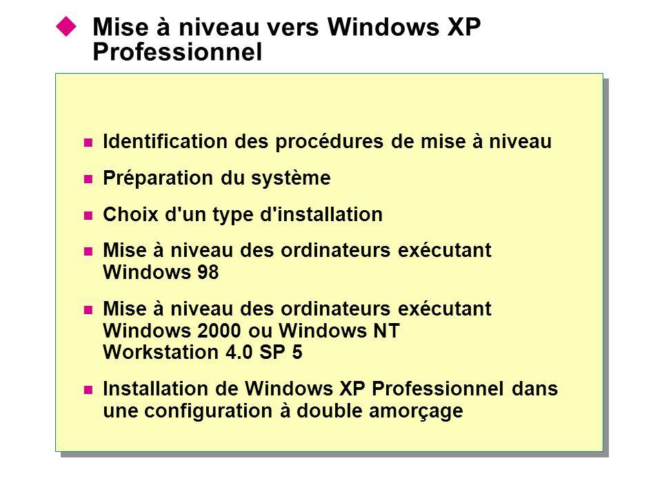 Mise à niveau vers Windows XP Professionnel Identification des procédures de mise à niveau Préparation du système Choix d un type d installation Mise à niveau des ordinateurs exécutant Windows 98 Mise à niveau des ordinateurs exécutant Windows 2000 ou Windows NT Workstation 4.0 SP 5 Installation de Windows XP Professionnel dans une configuration à double amorçage