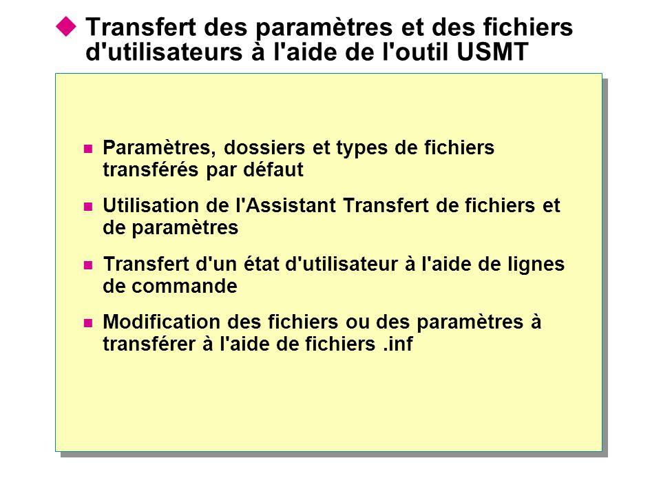 Transfert des paramètres et des fichiers d utilisateurs à l aide de l outil USMT Paramètres, dossiers et types de fichiers transférés par défaut Utilisation de l Assistant Transfert de fichiers et de paramètres Transfert d un état d utilisateur à l aide de lignes de commande Modification des fichiers ou des paramètres à transférer à l aide de fichiers.inf