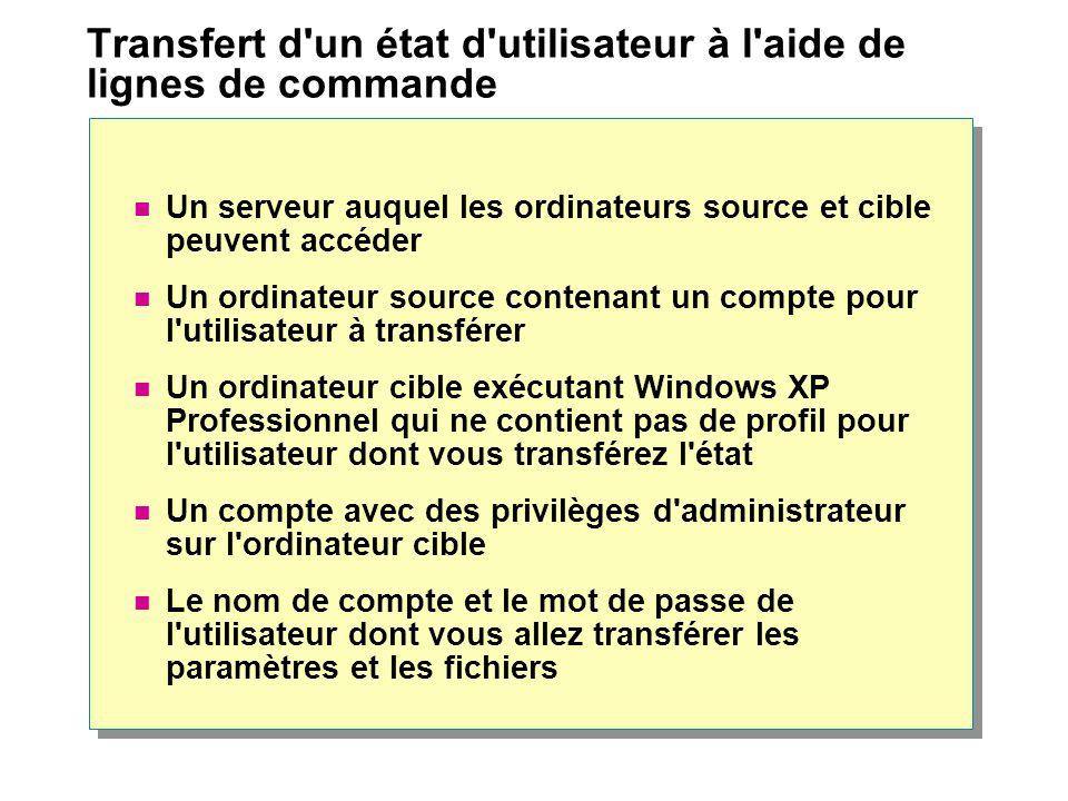 Transfert d un état d utilisateur à l aide de lignes de commande Un serveur auquel les ordinateurs source et cible peuvent accéder Un ordinateur source contenant un compte pour l utilisateur à transférer Un ordinateur cible exécutant Windows XP Professionnel qui ne contient pas de profil pour l utilisateur dont vous transférez l état Un compte avec des privilèges d administrateur sur l ordinateur cible Le nom de compte et le mot de passe de l utilisateur dont vous allez transférer les paramètres et les fichiers