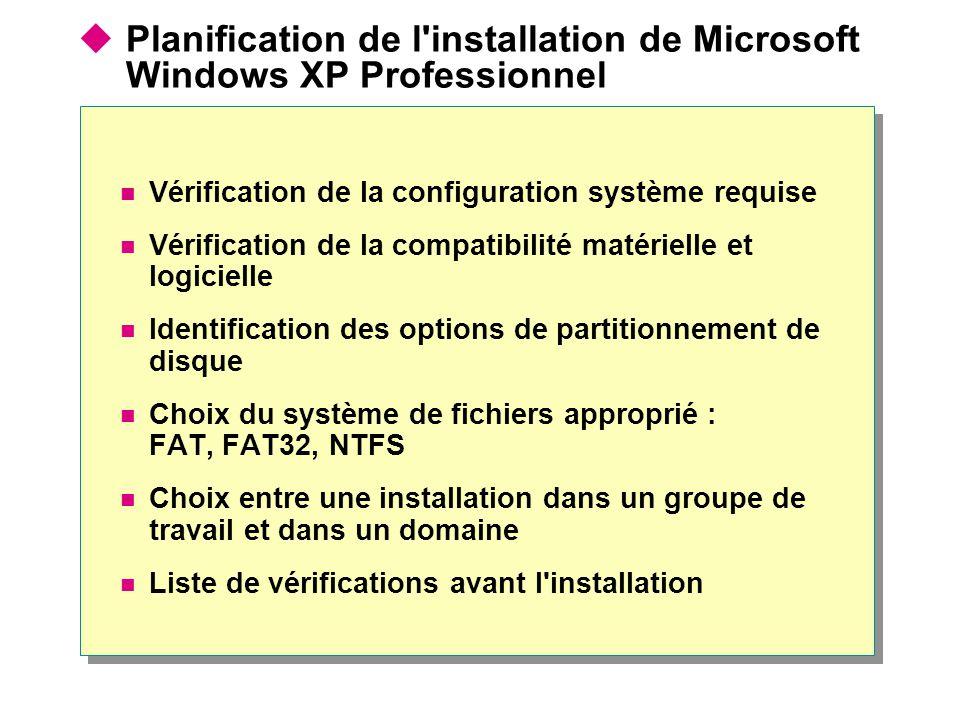 Planification de l installation de Microsoft Windows XP Professionnel Vérification de la configuration système requise Vérification de la compatibilité matérielle et logicielle Identification des options de partitionnement de disque Choix du système de fichiers approprié : FAT, FAT32, NTFS Choix entre une installation dans un groupe de travail et dans un domaine Liste de vérifications avant l installation