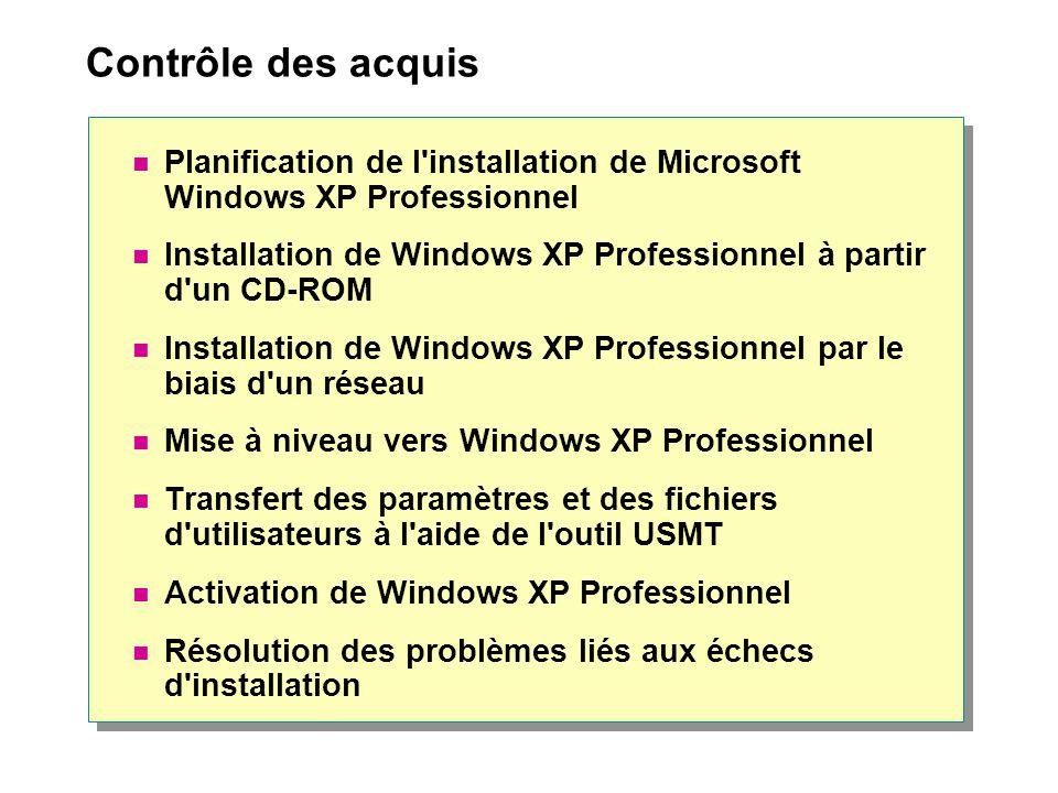 Contrôle des acquis Planification de l installation de Microsoft Windows XP Professionnel Installation de Windows XP Professionnel à partir d un CD-ROM Installation de Windows XP Professionnel par le biais d un réseau Mise à niveau vers Windows XP Professionnel Transfert des paramètres et des fichiers d utilisateurs à l aide de l outil USMT Activation de Windows XP Professionnel Résolution des problèmes liés aux échecs d installation