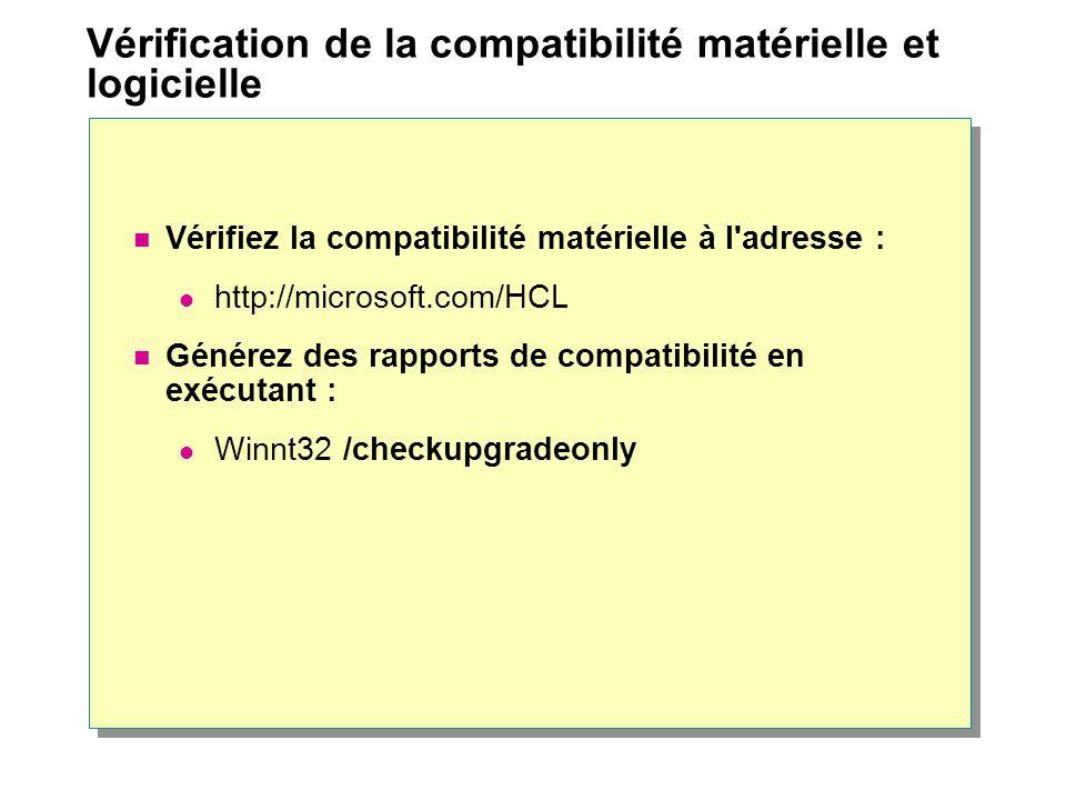 Vérification de la compatibilité matérielle et logicielle Vérifiez la compatibilité matérielle à l adresse : http://microsoft.com/HCL Générez des rapports de compatibilité en exécutant : Winnt32 /checkupgradeonly