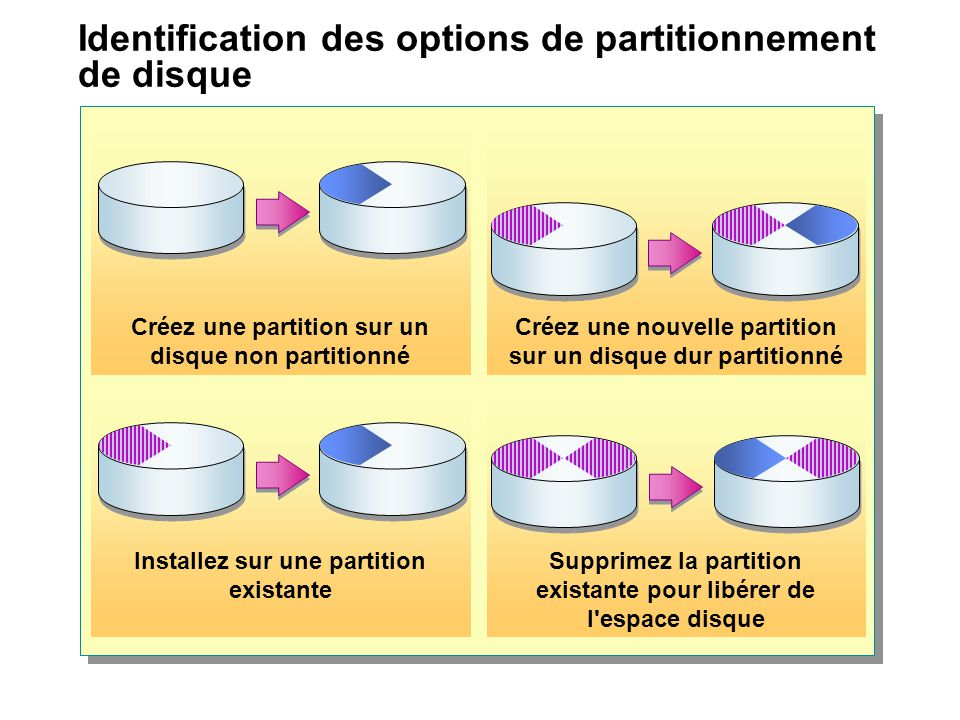 Identification des options de partitionnement de disque Créez une partition sur un disque non partitionné Créez une nouvelle partition sur un disque dur partitionné Installez sur une partition existante Supprimez la partition existante pour libérer de l espace disque