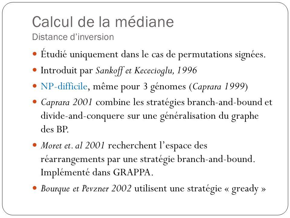Calcul de la médiane Distance dinversion Étudié uniquement dans le cas de permutations signées.