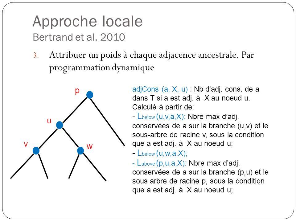 Approche locale Bertrand et al.2010 3. Attribuer un poids à chaque adjacence ancestrale.