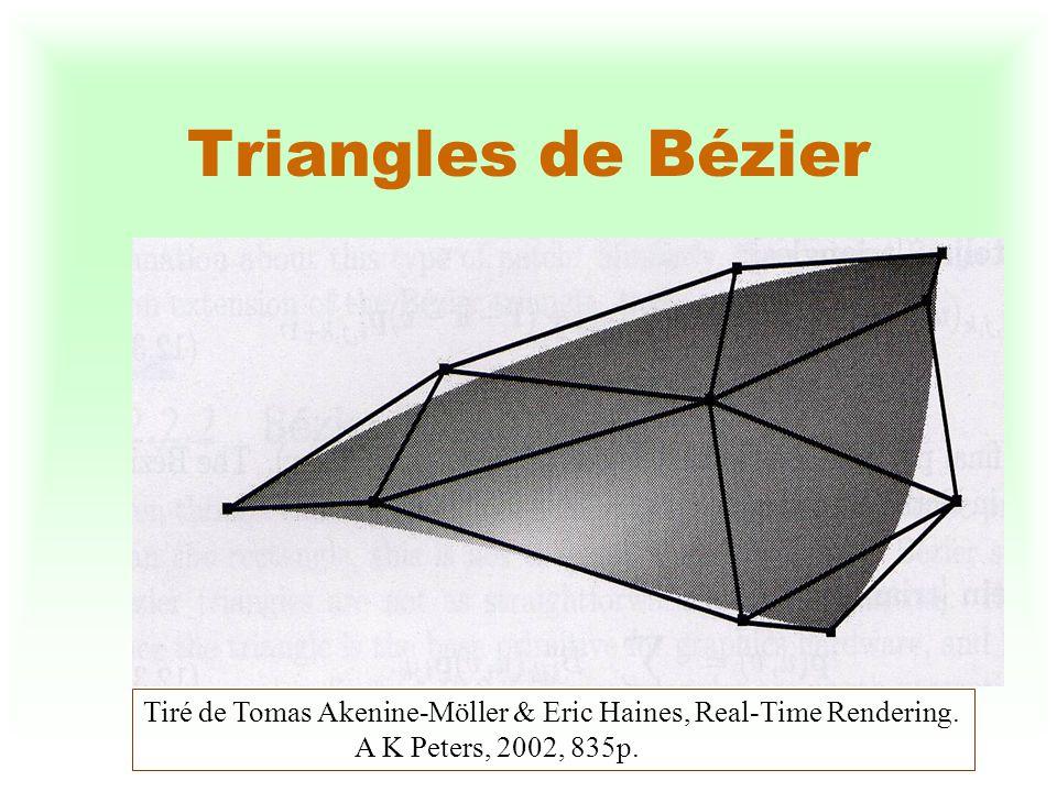 Triangles de Bézier Tiré de Tomas Akenine-Möller & Eric Haines, Real-Time Rendering.