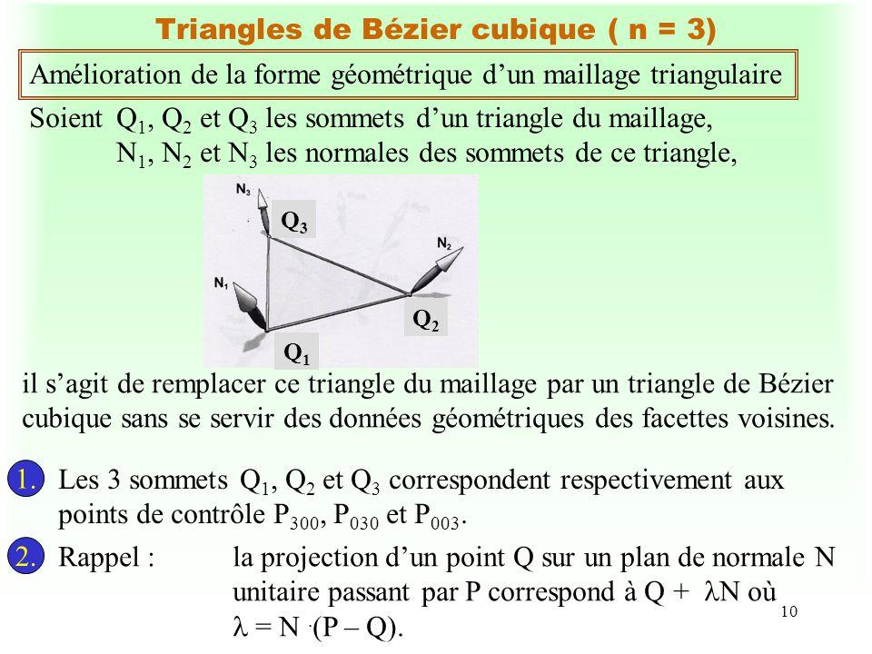10 Triangles de Bézier cubique ( n = 3) Amélioration de la forme géométrique dun maillage triangulaire SoientQ 1, Q 2 et Q 3 les sommets dun triangle du maillage, N 1, N 2 et N 3 les normales des sommets de ce triangle, 1.