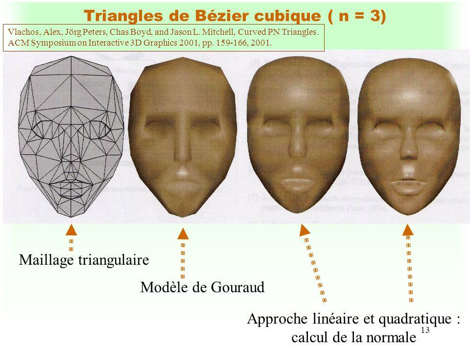 13 Triangles de Bézier cubique ( n = 3) Maillage triangulaire Modèle de Gouraud Approche linéaire et quadratique : calcul de la normale Vlachos, Alex,