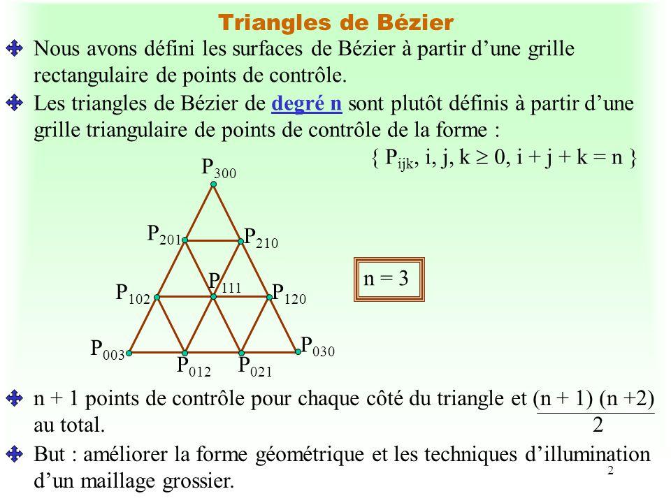 2 Triangles de Bézier Nous avons défini les surfaces de Bézier à partir dune grille rectangulaire de points de contrôle. Les triangles de Bézier de de