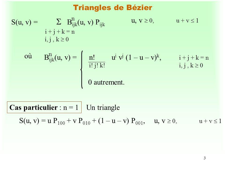 3 Triangles de Bézier S(u, v) = B ijk (u, v) P ijk i + j + k = n i, j, k 0 n où B ijk (u, v) = n! u i v j (1 – u – v) k, i + j + k = n i! j! k!i, j, k