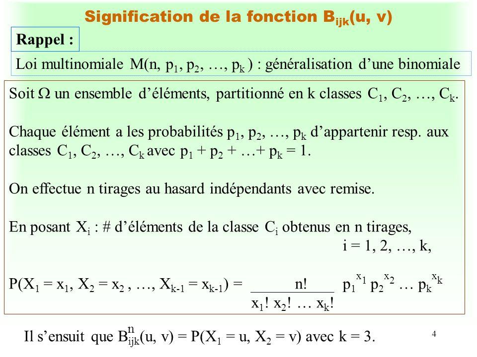 4 Signification de la fonctionB ijk (u, v) Rappel : Loi multinomiale M(n, p 1, p 2, …, p k ) : généralisation dune binomiale Soit un ensemble délément