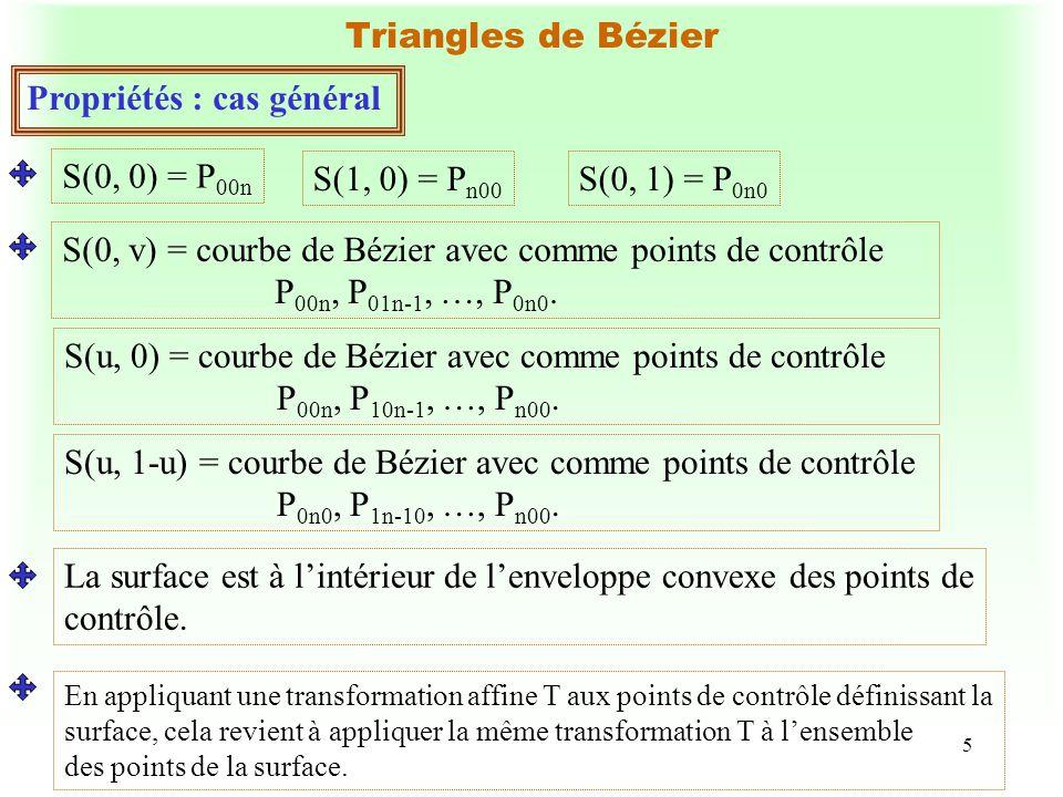 5 Triangles de Bézier Propriétés : cas général S(0, 0) = P 00n S(1, 0) = P n00 S(0, 1) = P 0n0 S(0, v) = courbe de Bézier avec comme points de contrôl