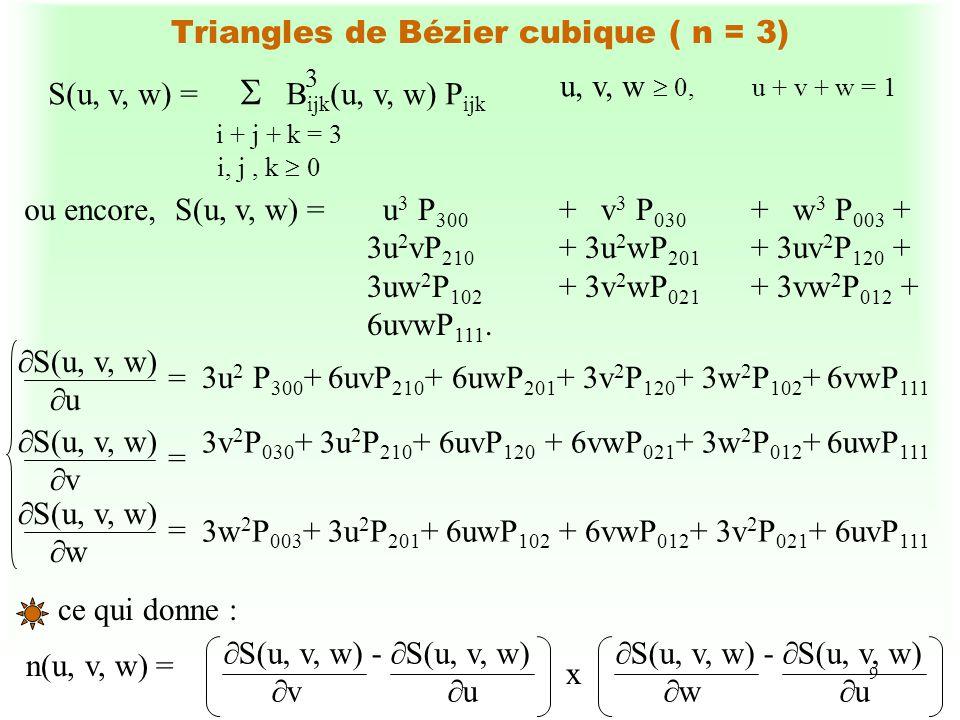 9 Triangles de Bézier cubique ( n = 3) S(u, v, w) = B ijk (u, v, w) P ijk i + j + k = 3 i, j, k 0 3 u, v, w 0,u + v + w = 1 S(u, v, w) = u 3 P 300 + v