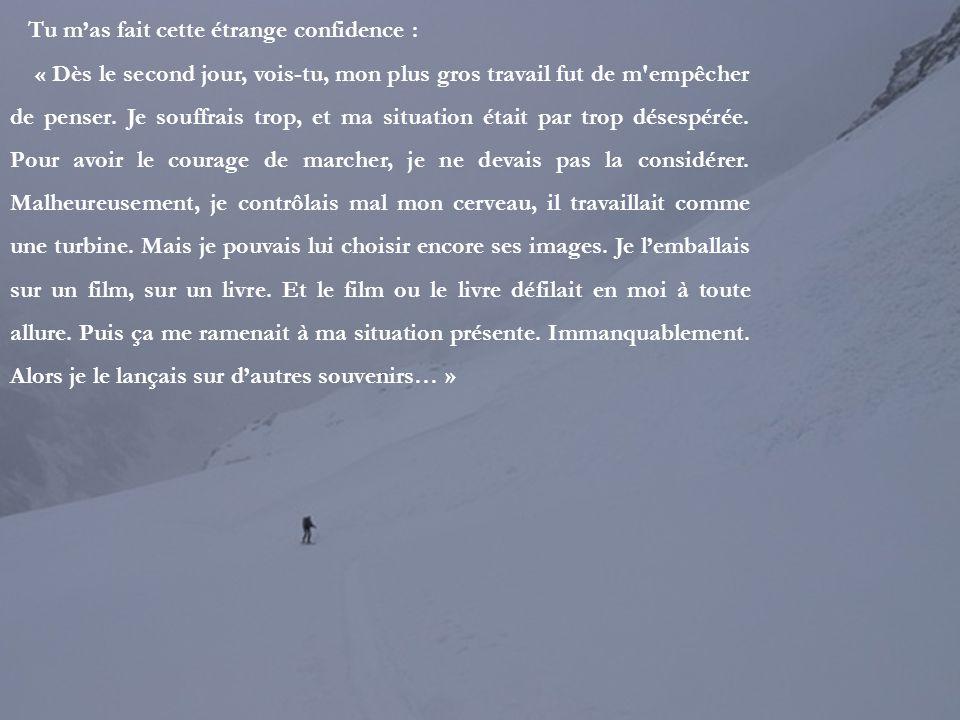 Tu résistais aux tentations. « Dans la neige, me disais-tu, on perd tout instinct de conservation. Après deux, trois, quatre jours de marche, on ne so