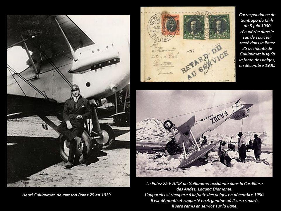 Correspondance de Santiago du Chili du 5 juin 1930 récupérée dans le sac de courrier resté dans le Potez 25 accidenté de Guillaumet jusquà la fonte des neiges, en décembre 1930.
