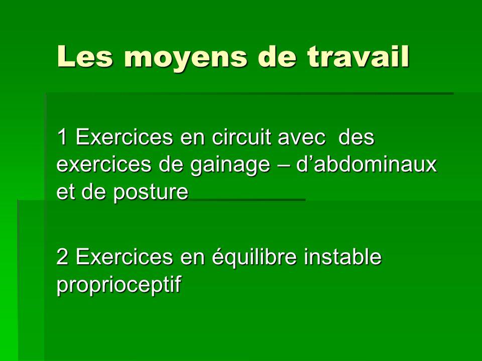 Les moyens de travail 1 Exercices en circuit avec des exercices de gainage – dabdominaux et de posture 2 Exercices en équilibre instable proprioceptif