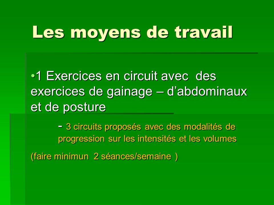 Les moyens de travail 1 Exercices en circuit avec des exercices de gainage – dabdominaux et de posture1 Exercices en circuit avec des exercices de gai