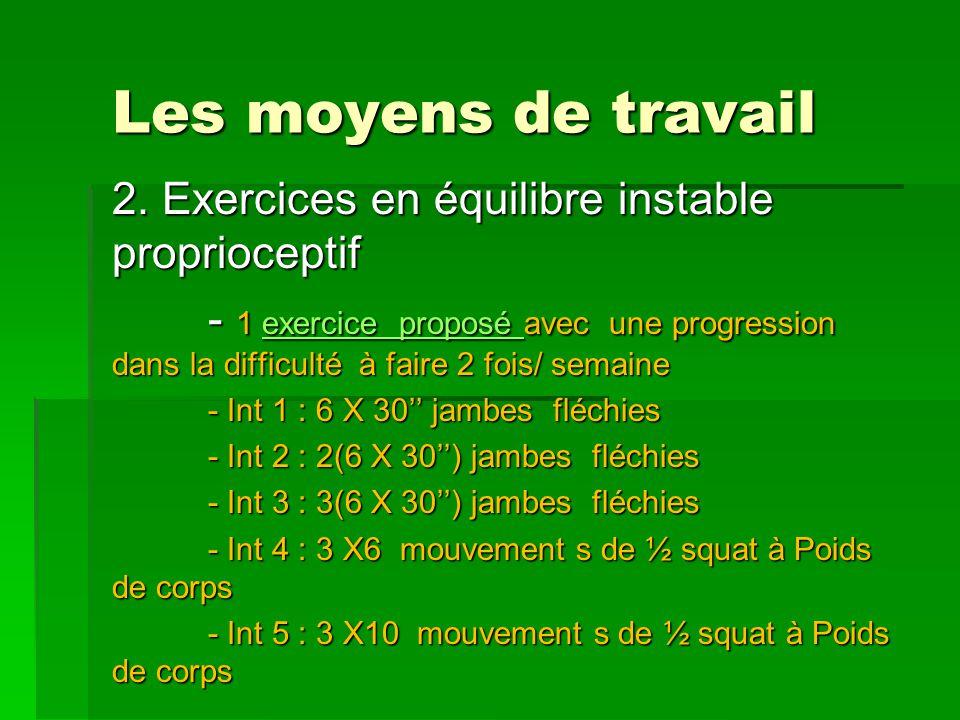 Les moyens de travail 2. Exercices en équilibre instable proprioceptif - 1 exercice proposé avec une progression dans la difficulté à faire 2 fois/ se