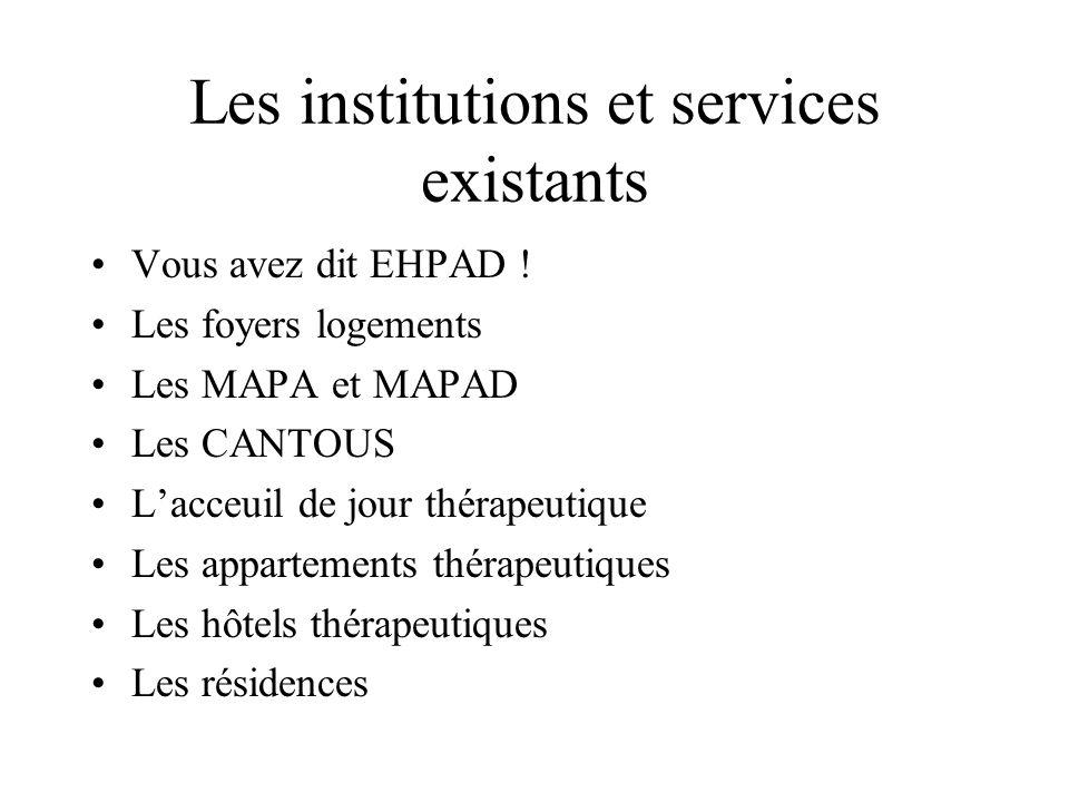 Les institutions et services existants Vous avez dit EHPAD ! Les foyers logements Les MAPA et MAPAD Les CANTOUS Lacceuil de jour thérapeutique Les app