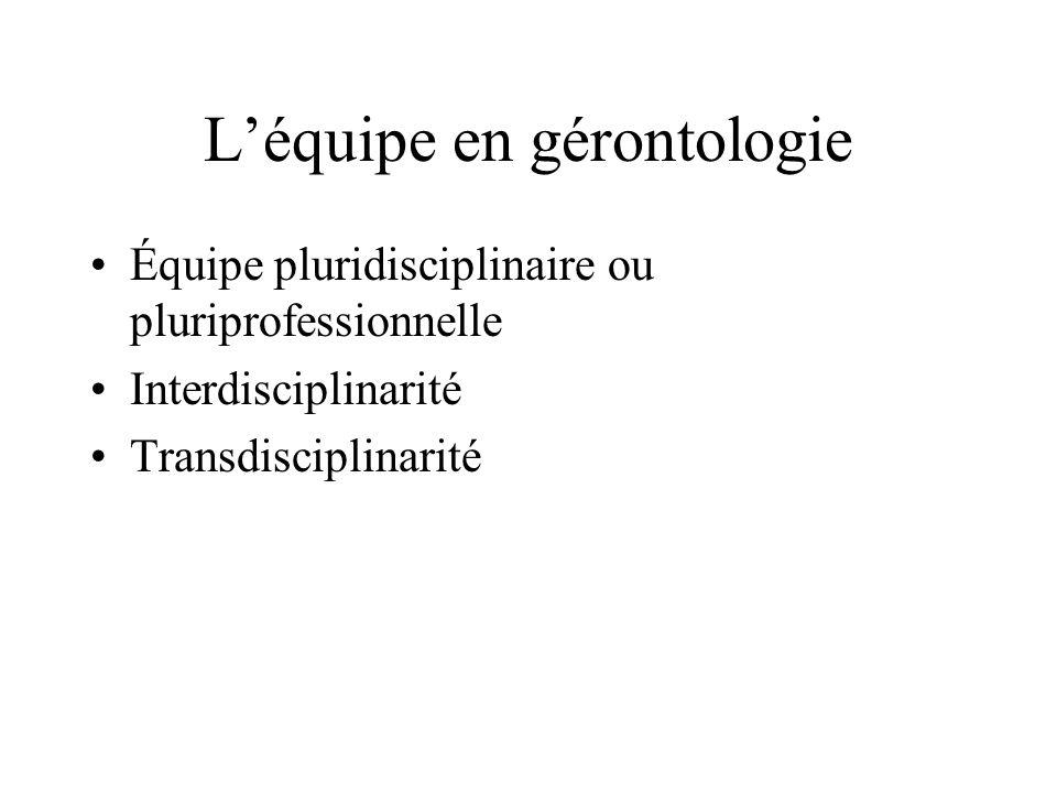 Léquipe en gérontologie Équipe pluridisciplinaire ou pluriprofessionnelle Interdisciplinarité Transdisciplinarité