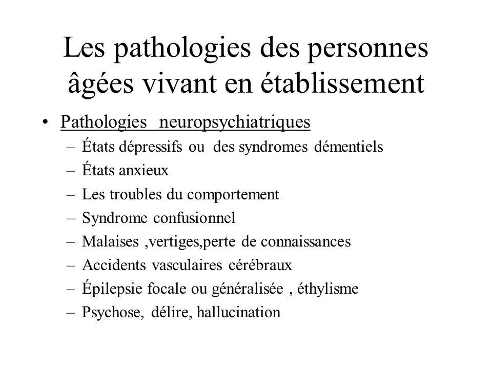 Les pathologies des personnes âgées vivant en établissement Pathologies neuropsychiatriques –États dépressifs ou des syndromes démentiels –États anxie