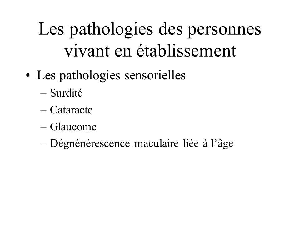 Les pathologies des personnes vivant en établissement Les pathologies sensorielles –Surdité –Cataracte –Glaucome –Dégnénérescence maculaire liée à lâge