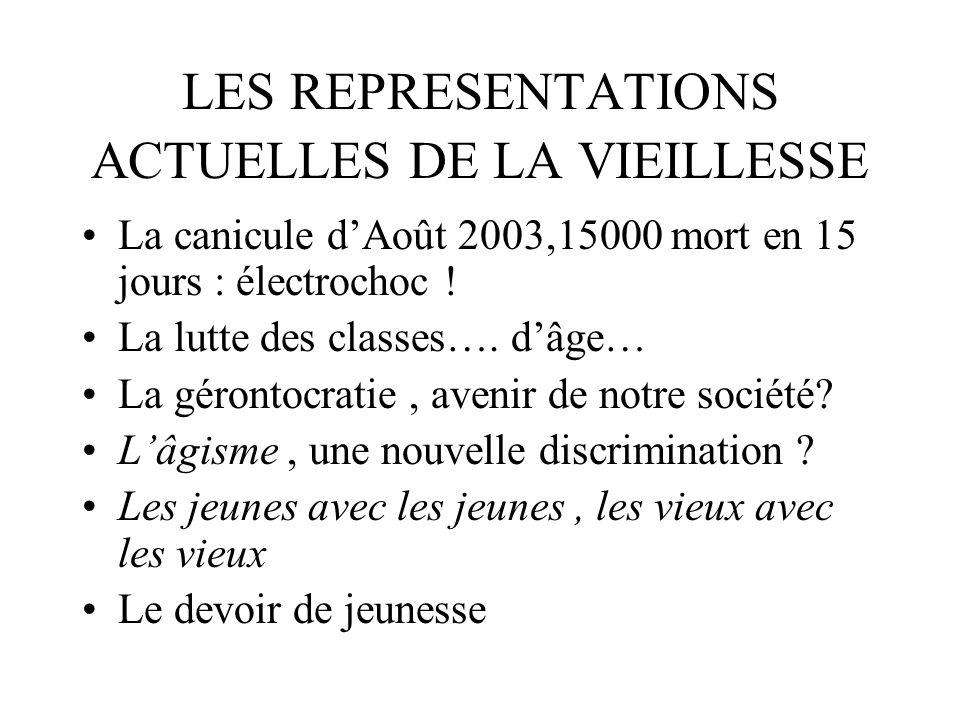 LES REPRESENTATIONS ACTUELLES DE LA VIEILLESSE La canicule dAoût 2003,15000 mort en 15 jours : électrochoc ! La lutte des classes…. dâge… La gérontocr