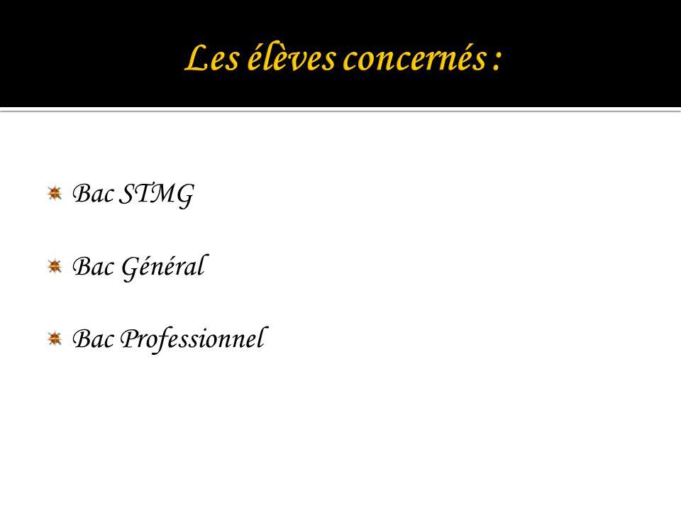 Bac STMG Bac Général Bac Professionnel
