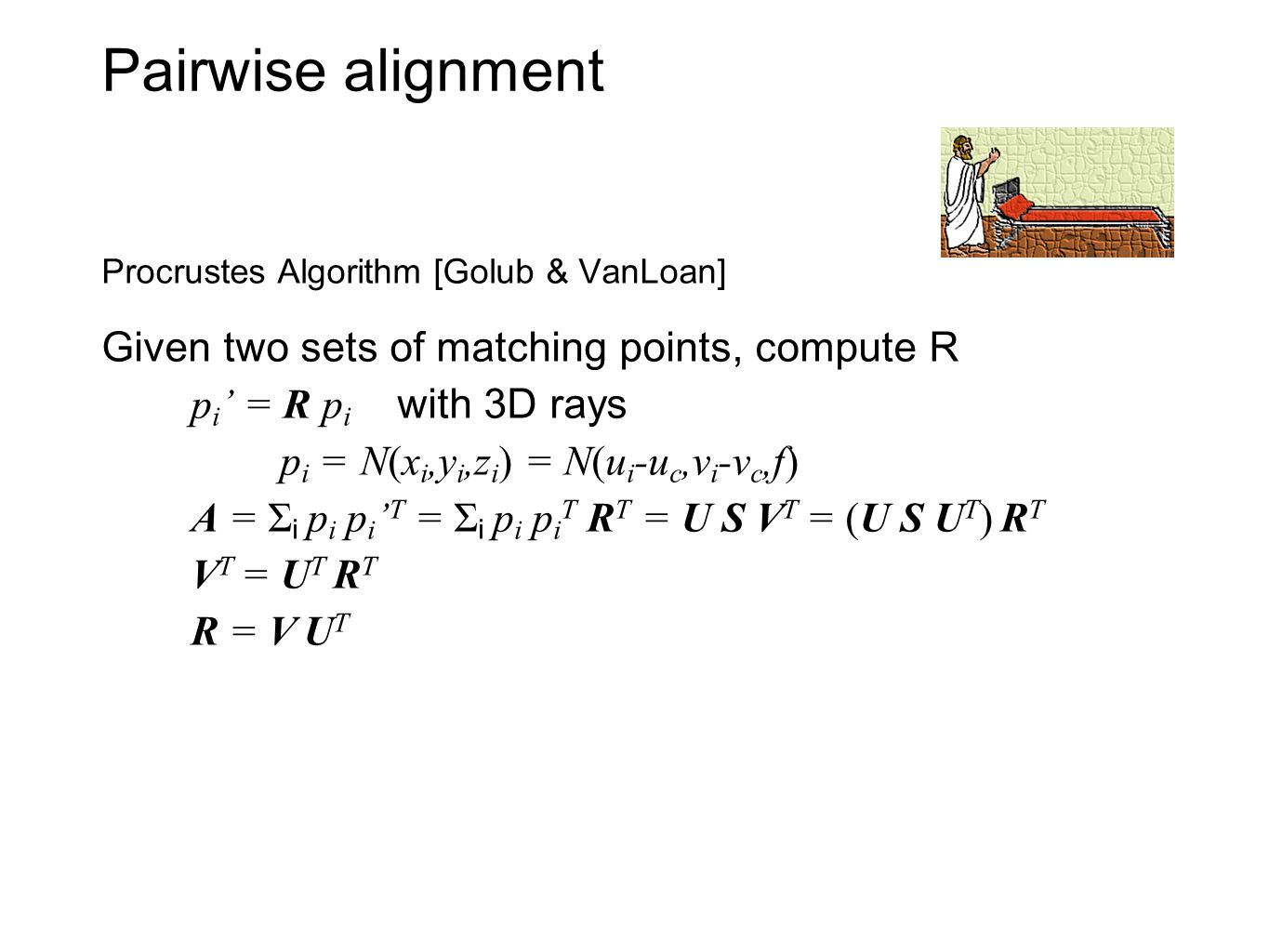 Pairwise alignment Procrustes Algorithm [Golub & VanLoan] Given two sets of matching points, compute R p i = R p i with 3D rays p i = N(x i,y i,z i )