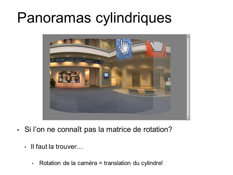 Panoramas cylindriques Si lon ne connaît pas la matrice de rotation.