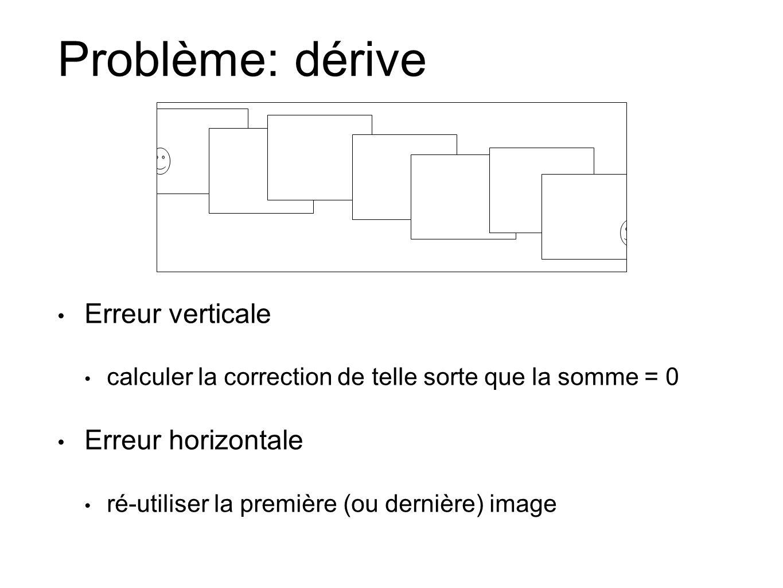 Problème: dérive Erreur verticale calculer la correction de telle sorte que la somme = 0 Erreur horizontale ré-utiliser la première (ou dernière) image