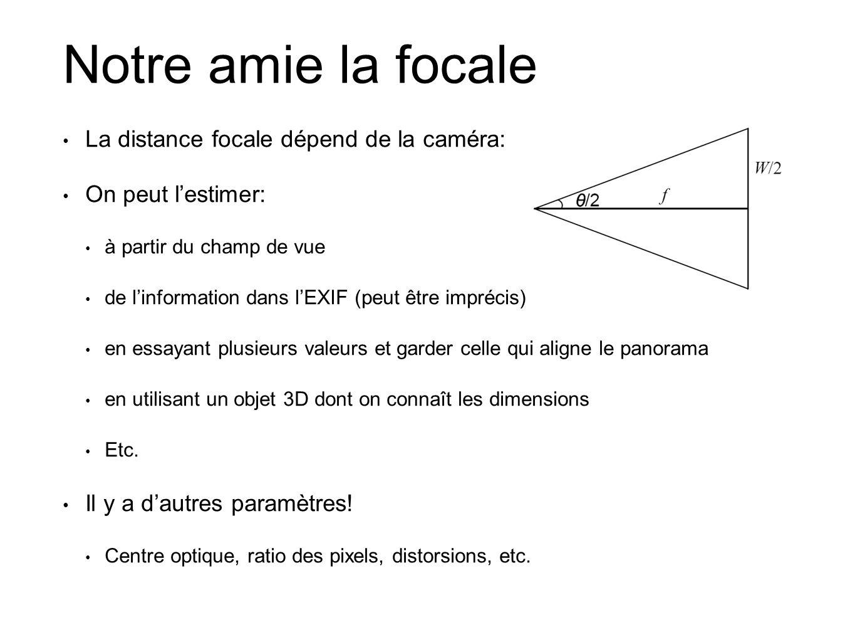 Notre amie la focale La distance focale dépend de la caméra: On peut lestimer: à partir du champ de vue de linformation dans lEXIF (peut être imprécis) en essayant plusieurs valeurs et garder celle qui aligne le panorama en utilisant un objet 3D dont on connaît les dimensions Etc.