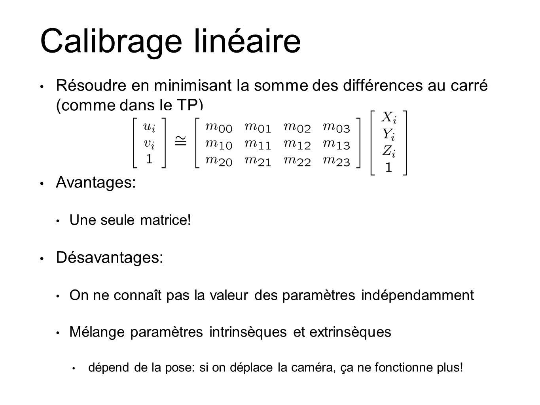 Calibrage linéaire Résoudre en minimisant la somme des différences au carré (comme dans le TP) Avantages: Une seule matrice.