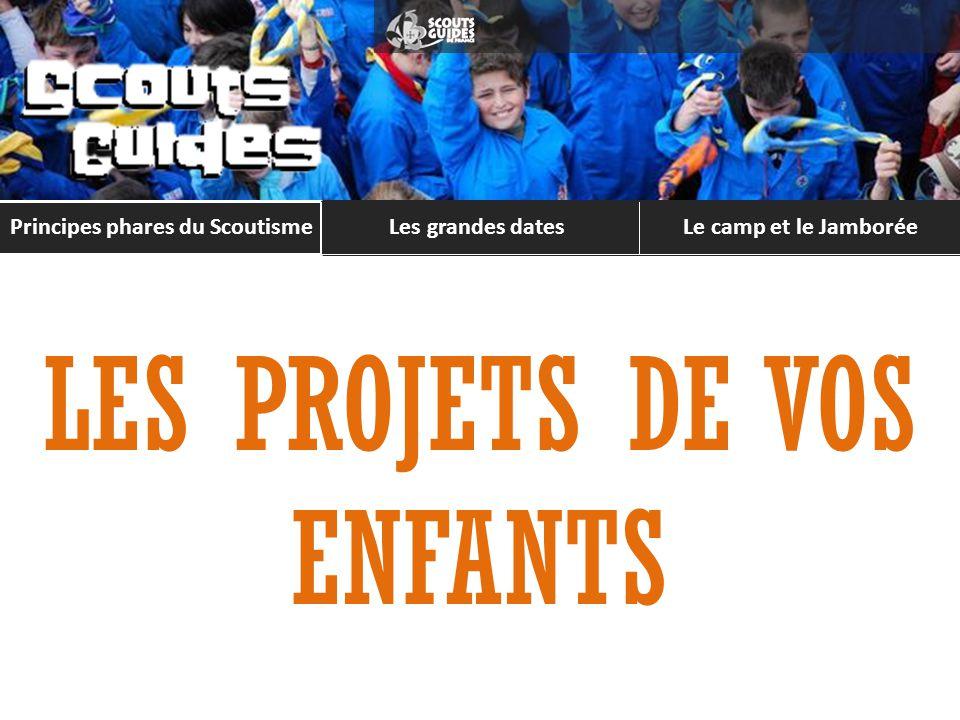 Principes phares du Scoutisme Les grandes datesLe camp et le Jamborée LES PROJETS DE VOS ENFANTS