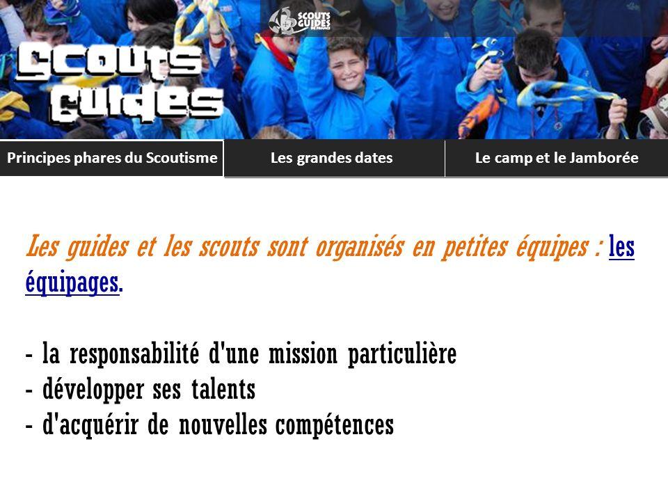 Principes phares du Scoutisme Les grandes datesLe camp et le Jamborée Les projets du 1 er semestre Les projets du 2 nd semestre