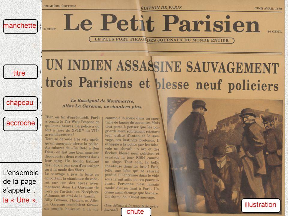 titre chapeau accroche manchette chute illustration Lensemble de la page sappelle : la « Une ».