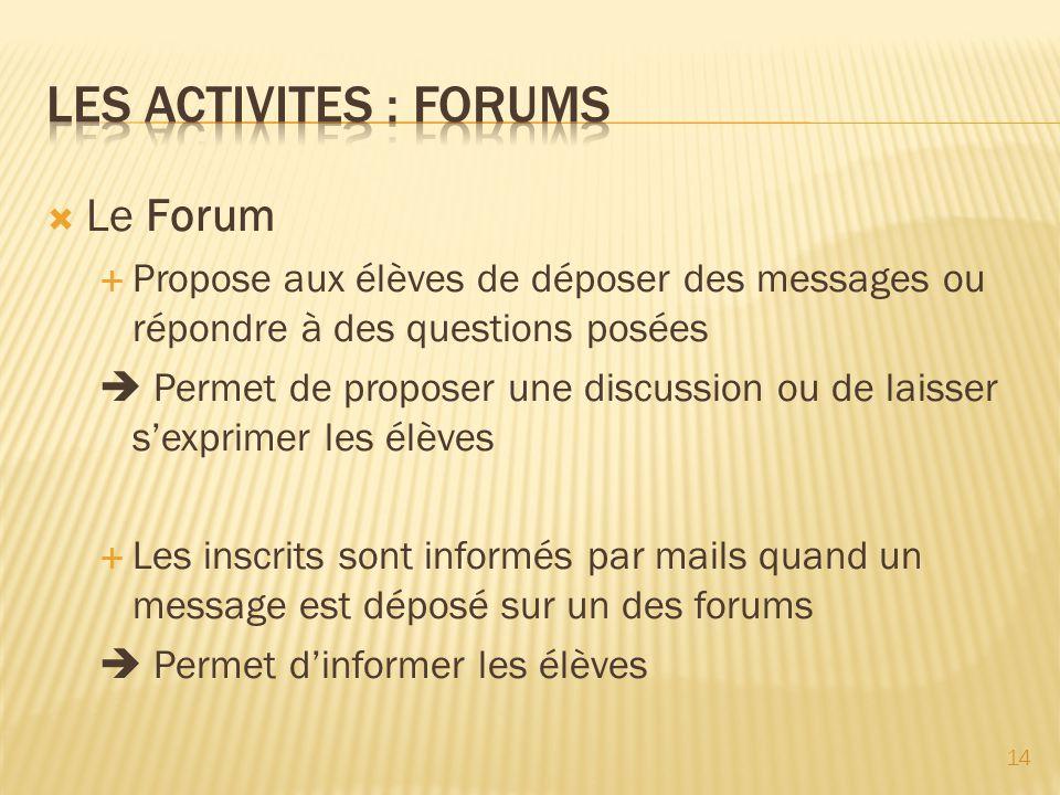 Le Forum Propose aux élèves de déposer des messages ou répondre à des questions posées Permet de proposer une discussion ou de laisser sexprimer les é